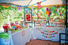 Another great shot of the Muppet party setup #muppet #desserttable #dessert #table #patio #double #two #tables #bunting #summer #birthday #party