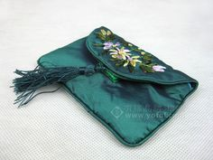 SILK HAND EMBROIDERED PURSE BLUE   chinese embroidery tutorial