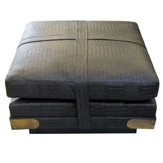 Faux Alligator Brass Mounted Ottoman | From a unique collection of antique and modern ottomans and poufs at http://www.1stdibs.com/furniture/seating/ottomans-poufs/