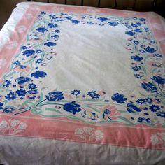 Vintage Table Cloth Tulip Floral Cotton White Pink by CinfulOldies, $45.00