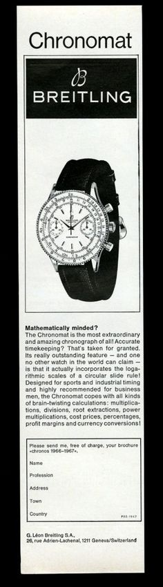 1963 Breitling Chronomat Watch Vintage Print Ad. #breitling #chronomat #vintage #watch #ads #stawc #watches