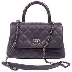 e45120dcd61c Chanel Coco Handle Flap Bag Mini Lizard and Caviar Quilted Leather - black  Chanel Coco Handle
