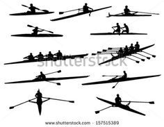 rowing silhouettes - stock vector