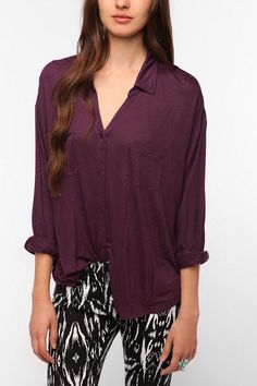 [$39.00] Staring at Stars Button-Down Knit Shirt   http://www.urbanoutfitters.com/urban/catalog/productdetail.jsp?id=24204562=W_TOPS