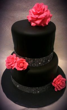 Beautiful cake!  Black with diamonds and roses | Simple and elegant