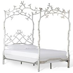 Corsican White Iron Mature Trees Queen Bed Frame - 17307636 - Overstock - The Best Prices on Corsican Beds - Mobile Iron Furniture, Furniture Deals, White Furniture, Online Furniture, Furniture Outlet, White Queen Bed, Queen Beds, Queen Canopy Bed Frame, White Iron Beds