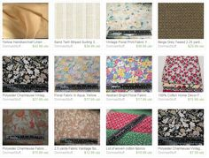 Here's a sample of the fabrics I sell on Etsy (and more to come so save me as a favorite shop) http://www.etsy.com/shop/DonnasStuffMore #fabric #dressmaking #crafts #decor