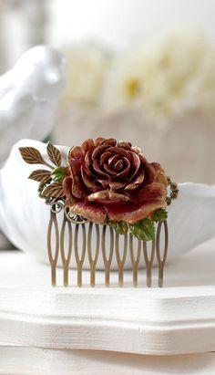 Fall Rose Hair Comb, Gold Dark Red Burgundy Rose, Leaf Branch, Rustic Vintage, Fall Wedding Flower Comb, Autumn Bridal Hair Accessory by LeChaim, $26.00 www.etsy.com/shop/LeChaim