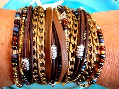 """Boho Chic Endless Leather Wrap Beaded Mocha Caffe Chain Bracelet with Silver Accents....""""FREE SHIPPING""""  by LeatherDiva, $39.00"""