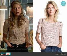 H&M Woven Top in Powder Pink / Patterned worn by Kara Danvers (Melissa Benoist) on Supergirl Cool Outfits, Casual Outfits, Fashion Outfits, Womens Fashion, Casual Attire, Office Attire, Blazer Outfits, Tomboy Fashion, Work Attire