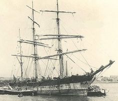 """The Iron Full Rigged Sailing Vessel, """"Montrose"""" was launched in 1863 at Barclay Curle & Company Glasgow and completed 1863.Owners: Greenshield Cowie & Co., Liverpool. Late 80s re rigged as a barque c1888 sold to German owners and renamed """"Montrosa"""" c1898 sold to owners in Mariehamn, Finland. 1929 damaged in a severe gale but managed to reach Cuxhaven. Towed to London where she was condemned to be scrapped."""