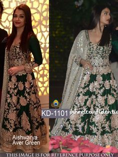 Aishwariya Rai Green Designer Gown  Product Info : Code : KD-1101 Top : Joya Silk Bottom & Inner : Santoon Dupatta : Fancy Net Type : Gown  Price : 3425 INR Only ! #Booknow  ➡World Wide Shipping Provided - Paypal / WU Accepted ➡C O D Available In India - Shipping Charges Extra ➡Free Shipping On Prepaid Shipment Within India ➡Stitching Facility Available  For Order Contact Us : 09054562754 (Whatsapp Only)