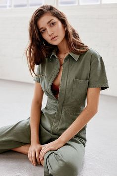 Uo Canvas Flight Jumpsuit from Urban Outfitters on 21 Buttons Rompers Women, Jumpsuits For Women, Urban Outfitters Style, Wear To Class, Boiler Suit, Mini Slip Dress, Jeans, Fitness Models, Womens Fashion