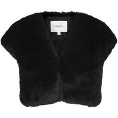 L.K. Bennett Evella Faux Fur Jacket, Black (2 085 SEK) ❤ liked on Polyvore featuring outerwear, jackets, short sleeve jacket, bolero jacket, short-sleeve jackets, faux fur jacket and faux fur bolero