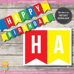 INSTANT DOWNLOAD - Sesame Street Lego Boys Birthday Printable Happy Birthday Banner - Party Decorations Red Blue Green Primary Color PDF