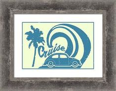 VW Bug Framed Giclee Print