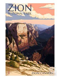 Zion National Park - Zion Canyon Sunset Art Print by Lantern Press at Art.co.uk