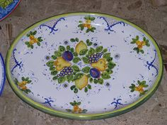 large oval platter cm 48x36 - Autunno and Lemons pattern