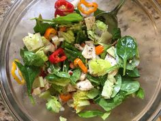 "I called this creation ""snowstorm"" salad in honor of today's blizzard.  We're at about 11"" and it's still coming down!   It was a great lunch... lite and filling. Packed with nutrients and vitamins with all the colorful veggies and dark greens, and topped off with lean grilled chicken for protein.   Mix spinach, remaine, mini colored peppers, mini cucumbers, cherry tomatoes, radishes and grilled chicken.   Dress it with EVOO, salt and pepper.   Enjoy and happy salad..."