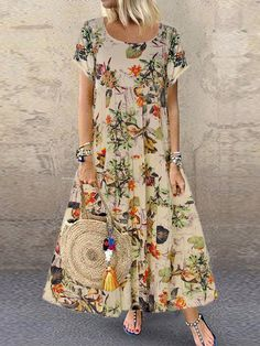Vintage Floral Printed Short Sleeve Overhead Maxi Dress is high-quality, see other cheap summer dresses on NewChic. Vestidos Vintage, Vintage Dresses, Mode Outfits, Dress Outfits, Mode Turban, Cheap Summer Dresses, Dress Summer, Spring Summer, Summer Outfit
