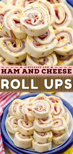 This contains: Ham and Cheese Roll Ups, game day food, football appetizers