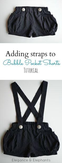 Elegance & Elephants: Adding Straps to Bubble Pocket Shorts Tutorial