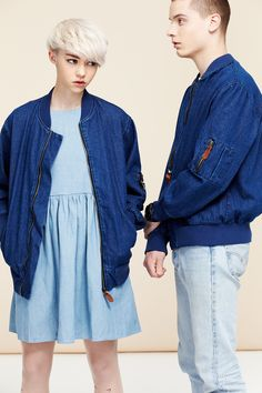 thewhitepepper:  Its cold and overcast in London so we're staying warm in the Denim Bomber Jacket Blue Follow us on Facebook
