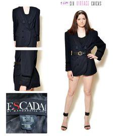 Black Jacket Women Escada blazer tassel trim Black Blazer 80s clothing vintage suit jacket double brested fringe jacket embroidered jacket by SixVintageChicks on Etsy