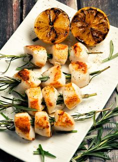 Rosemary-Skewered Scallops....okay so they aren't vegetarian! Scallops are the only meat I eat, besides the miniscule amount of fish in Ceasar dressing.