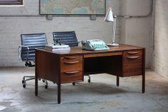 Polarizing Jens Risom Mid Century Modern Double Pedestal Walnut Desk (U.S.A., 1960s)