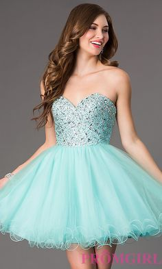 Image of short strapless jewel embellished bodice tulle skirt sweetheart dress Style: DQ-9001 Front Image