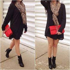 Mini Shirt Dress + Leopard Scarf + Red Studded Clutch ❤️ || Text/call 305-610-1155 for pricing #girlswillbegirls #miamiboutique #ootd #gwbgcouture #fashion #style #marivillalobos #miamifashion #styleme_elvi #boutique #fallfashion #ootd #ootn #moda #trendy #trend #newarrivals #fashionblogger #instyle #leopard #valentino