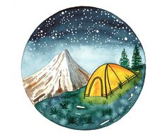 Original Watercolor painting Camping tent on by bluepalette