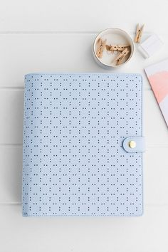 Ice blue perforated leather planner