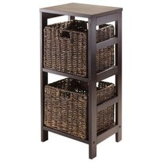 Winsome Trading Granville 2-Tier Storage Shelf with 2 Small Baskets in Espresso/Chocolate - BedBathandBeyond.com