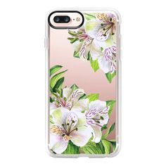 White orchids. Watercolor flowers - iPhone 7 Plus Case And Cover ($40) ❤ liked on Polyvore featuring accessories, tech accessories, iphone case, clear flower iphone case, iphone cases, clear iphone case, flower iphone case and apple iphone case