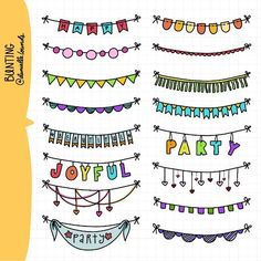 Bunting by Danielle Lounds Bullet Journal Inspo, Bullet Journal Ideas Pages, My Journal, Kalender Design, Doodle Borders, Doodle Art, How To Draw Hands, Notes, Writing