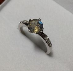 Natural rainbow Labradorite Solid Sterling Silver Solitaire engagement ring - handmade engagement ring - wedding ring