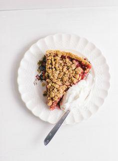 rhubarb-raspberry streusel tart with lavender whipped cream