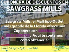 Sawgrass Mills es el centro comercial tipo Outlet más grande de toda la Florida. Grandes marcas todos los días tienen grandes descuentos pero hay muchos descuentos adicionales que no se ofrecen a todo el mundo y aquí te contamos cómo acceder a estos además de otra información de interés ==> http://g2l.us/SGM