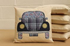 VW Beetle Cushion in Blue by YouLoveItYouDo on Etsy, £20.00