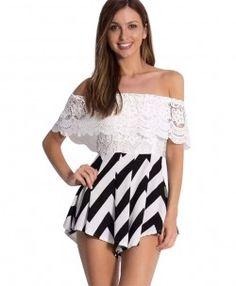 Bare-shouldered Lace Jumpsuits