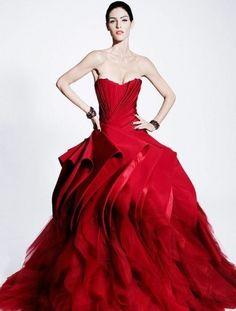 Wedding dress rosso drappeggiato