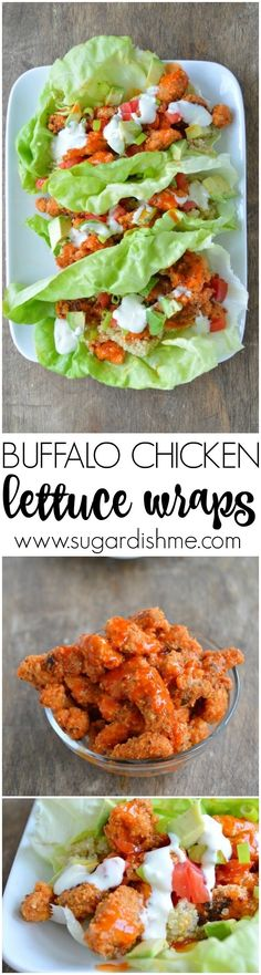 Buffalo Chicken Lettuce Wraps! Oven fried buffalo chicken, quinoa, tomatoes, & avocado wrapped in lettuce  #Healthyrecipes #Healthyeating #healthyliving