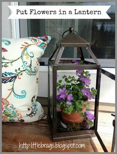 Front Porch Re-Fresh for Spring and Summer.... Use red christmas one with gardenias