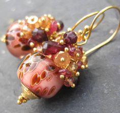 Boro lampwork bead earrings sapphire garnet gemstone beaded glass gold vermeil dangle jewelry --Creme Brulee--. $78.00, via Etsy.