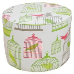 Flight of Fancy Round Ottoman: love this print!