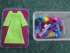 Felt board in a box! Interactive idea for children to play with. Flame: Creative Children's Ministry: Joseph's coat in a box!