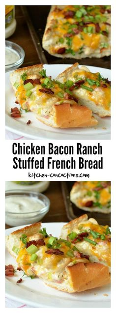 Chicken Bacon Ranch Stuffed French Bread -  Hosting a football party, movie or game night with friends? This loaded Chicken Bacon Ranch Stuffed French Bread pizza recipe is a crowd pleaser and super easy to make and perfect for both dinner and an appetizer!