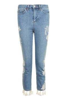 PETITE Embroidered Straight Leg Tassel Jeans
